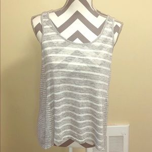Vince High-Low Linen Tank Gray and White Size M.